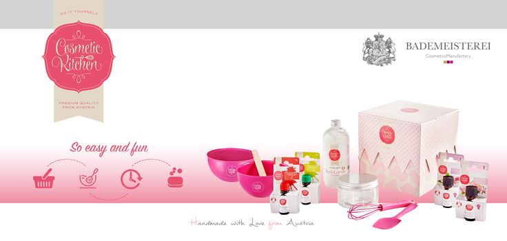 "Do it Yourself Cosmetic Kitchen Introducing the Austrian Bademeisterei success product the ""Do it Yourself Cosmetic Kitchen""  100% Vegan cosmetics you can make yourself.  Body Lotion Box, Shower Gel Box, Bath Bomb Box and Soap Box. The products meet the highest quality standards and are individually mixed for yourself or as a gift for ""her and him""."