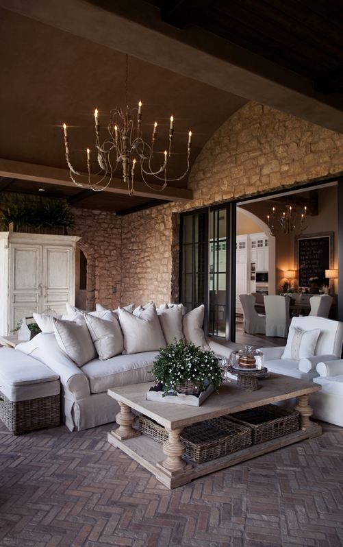 I have this sofa and side chair in storage.  It's green velvet and needs to be upholstered in the cream...  ..   Love everything about this outdoor room, love the coffee table.