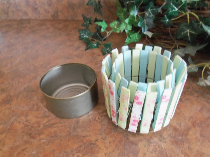 Tuna fish can, paint clothes pins cover them with paper and clip on for a cute planter or candle holder.