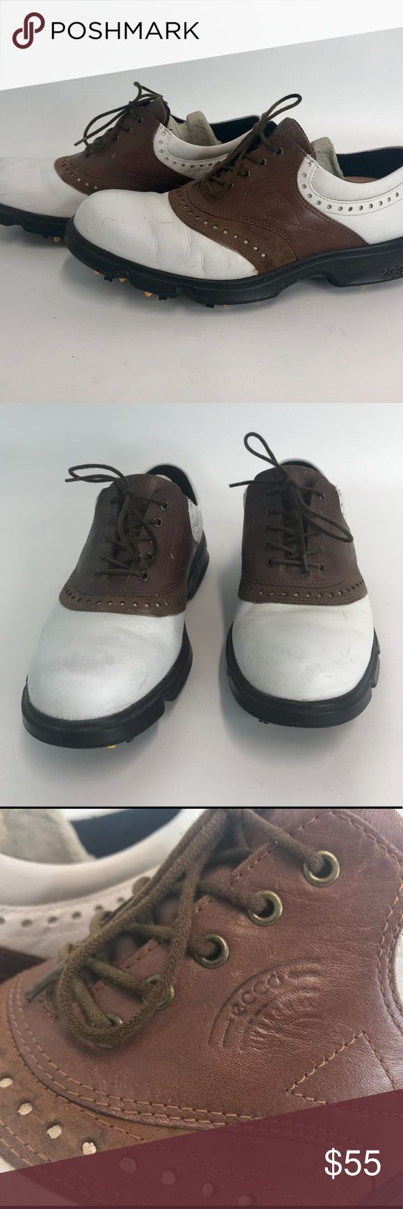 ECCO Men's Hydromax Golf Shoes Cleats US Size 10 ECCO Men's Hydromax Golf Shoes Cleats US Size 10 EUR 43 Brown White  These are very nice preowned leather golf shoes. They show some very minor signs of wear but overall are in excellent condition. The cardboard insert has always been kept inside of them when not worn. Please enlarge all pictures for fine details.   Size: US 10 (EUR 43)  Shipping: I normally ship in one day (maybe 2).   Please check out all the pictures above because they are…