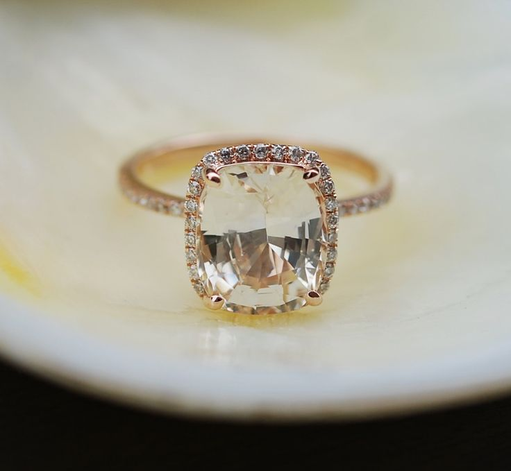 Champagne Sapphire Ring 14k Rose Gold Diamond Engagement Ring 4.85ct Cushion Champagne sapphire ring by Eidelprecious