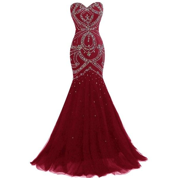 Dresstells Long Mermaid Prom Dress Corset Back Tulle Evening Gowns... ($100) ❤ liked on Polyvore featuring dresses, gowns, prom gowns, long red dress, red corset, long evening gowns and red prom dresses
