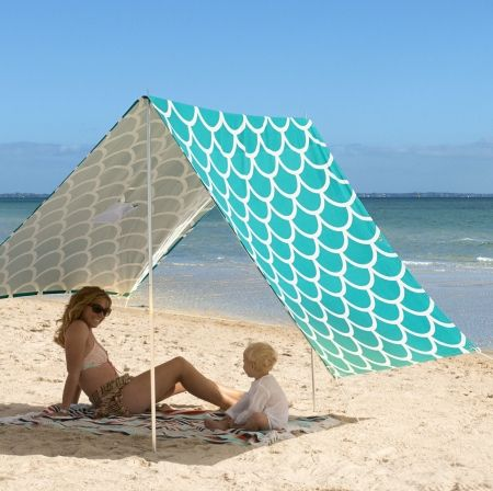 Sombrilla Beach Shelter in Aqua Shells - hardtofind. would work much better than an umbrella