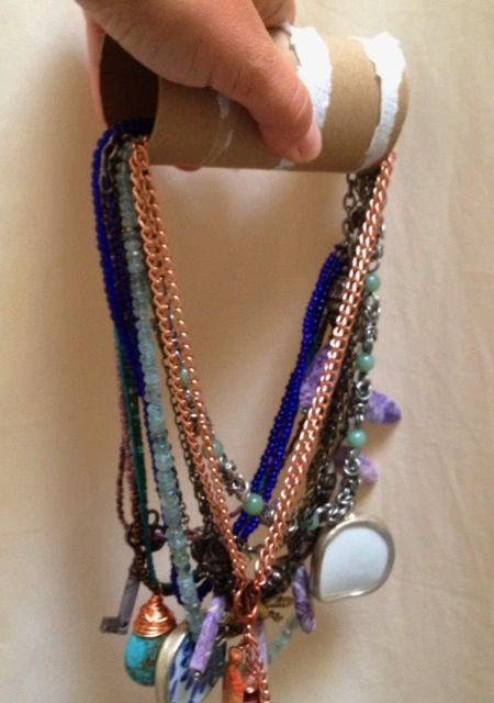 #1 Connect your necklaces through a toilet paper roll to prevent them from knotting. This is great for a short trip or packing up for a move.