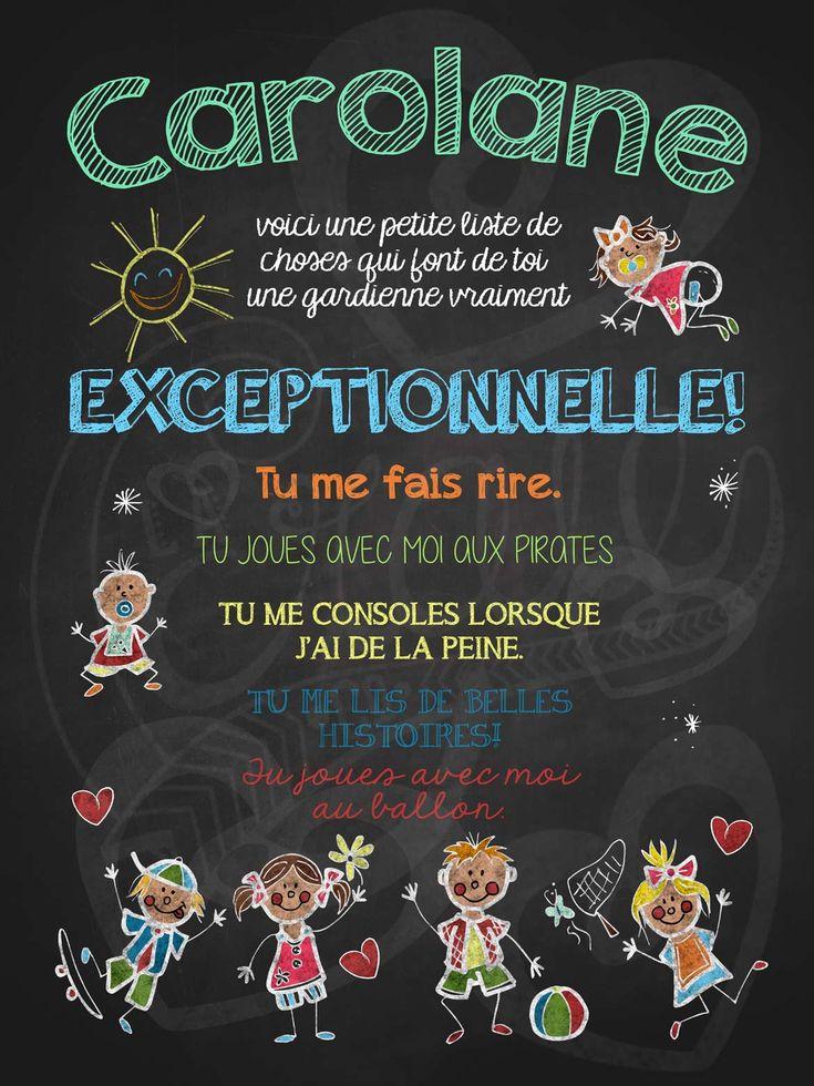 Affiche personnalisée Gardienne exceptionnelle! | 15,00$ #lacraieco #chalkboard #cadeau #gardienne #garderie