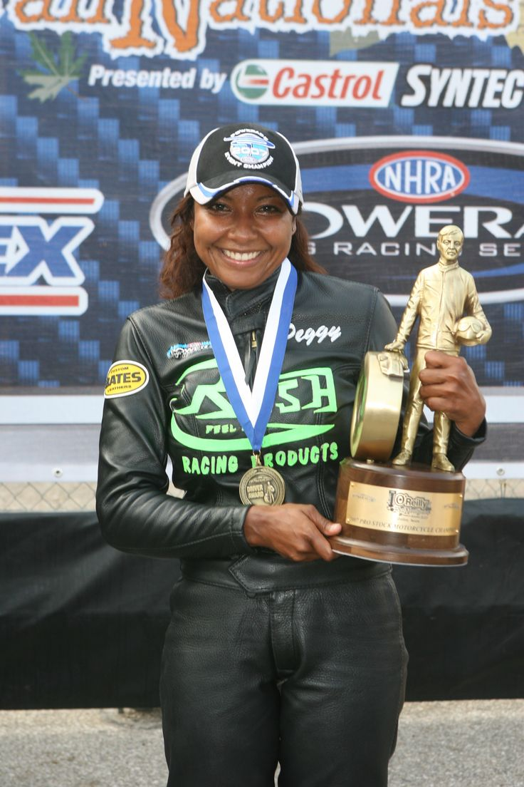 peggy's historical win! soooo cool! nhra pro stock motorcyclist and first woman of color in the world to win a professional motorsports event.