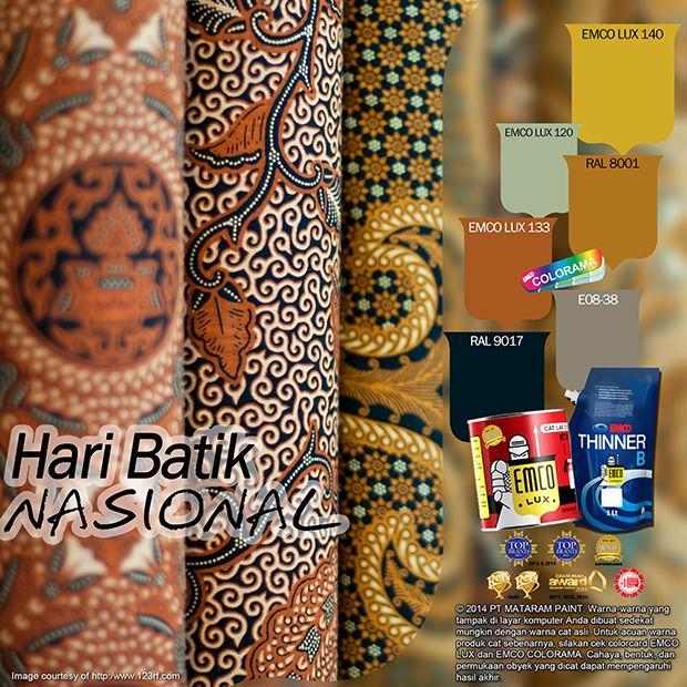 Kawan EMCO Anda sudah menyiapkan busana batik untuk memperingati Hari Batik Nasional tanggal 02 Oktober? Setidaknya kalau Anda pelajar atau Pegawai Negeri, Anda dihimbau untuk menggunakan busana batik pada tanggal tersebut. Hari Batik Nasional dikampanyekan untuk memperingati ditetapkannya batik sebagai warisan budaya dunia oleh UNESCO. #matarampaint #emcopaint #kayubesi #catkayu #catbesi #warisanbudaya #culture #batik #budaya #jawa #java #haribatik #unesco