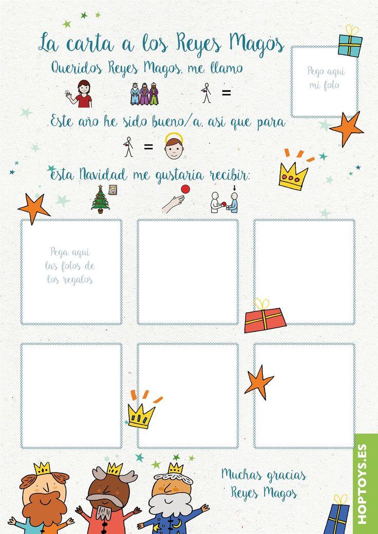 Carta a los Reyes Magos de Hop'Toys con pictogramas, ideal para niños con TEA