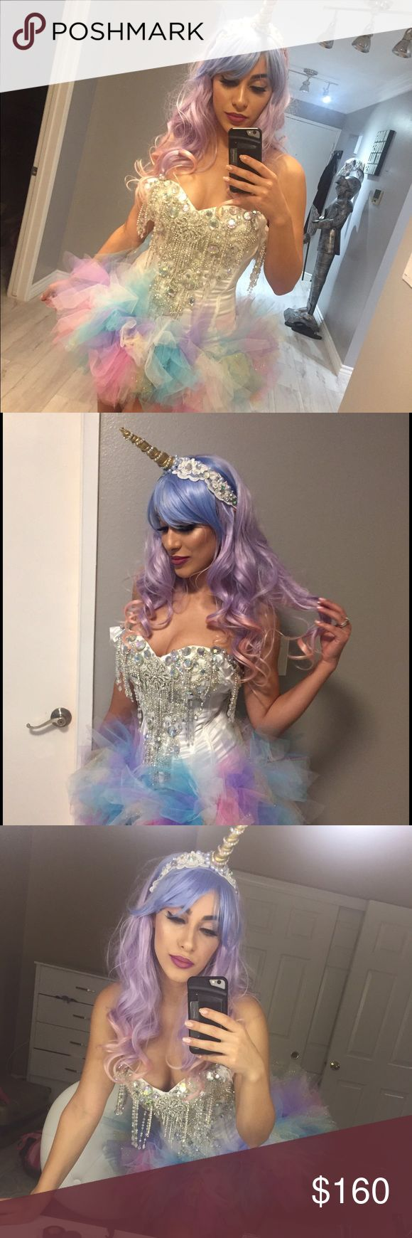 Beautiful unicorn costume Custom made costume. Comes with wig, unicorn head piece, corset and tutu. Corset is a size small and the tutu is adjustable Other