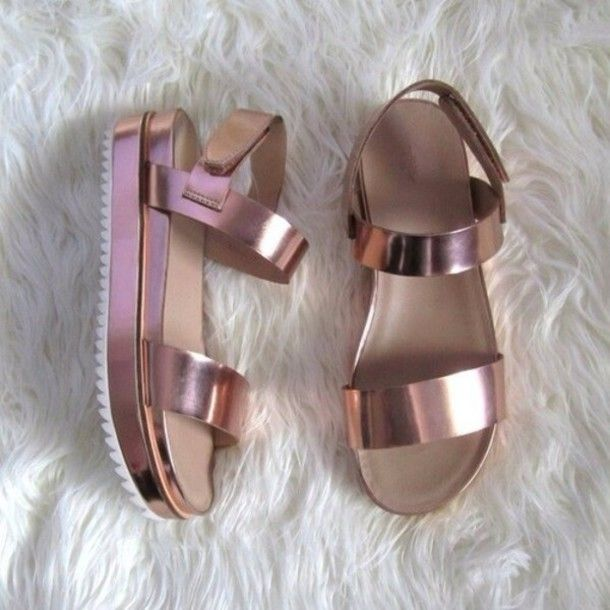 Shoes: metallic shoes, hipster wishlist, sandals, rose gold ...