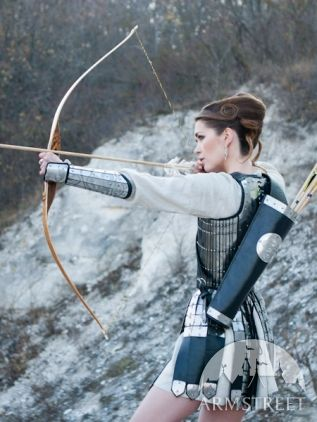 """Model showing off her """"medieval archer bowman leather quiver [with] etched steel accents"""""""
