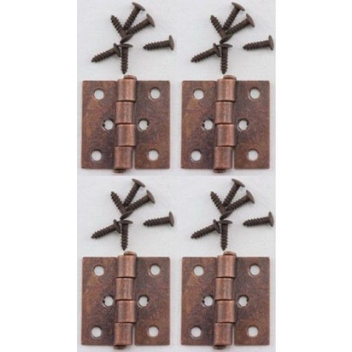 """CLASSICS DOLLHOUSE FURNITURE Dollhouse Butt Hinges With Nails- 4 pack- Oil Rubbed Bronze 1"""" Scale Dollhouse Miniature CLA05711 731851057119"""