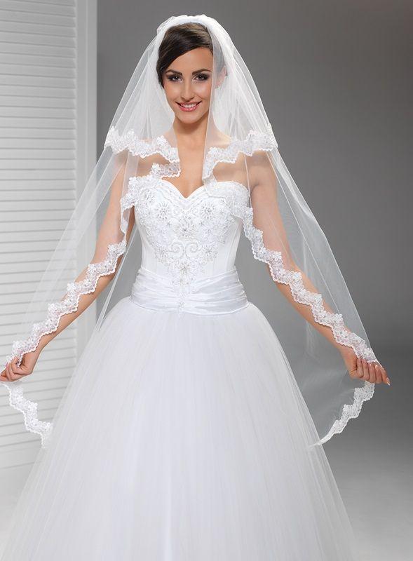 Závoje | krajkový svatební závoj 130/70 cm | Levné svatební šaty, svatební šaty levně - prodej