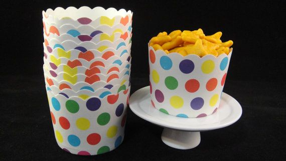 Large Multicolored Polka Dot Baking/Candy Cups by MamaMiasCupcakes, $3.50