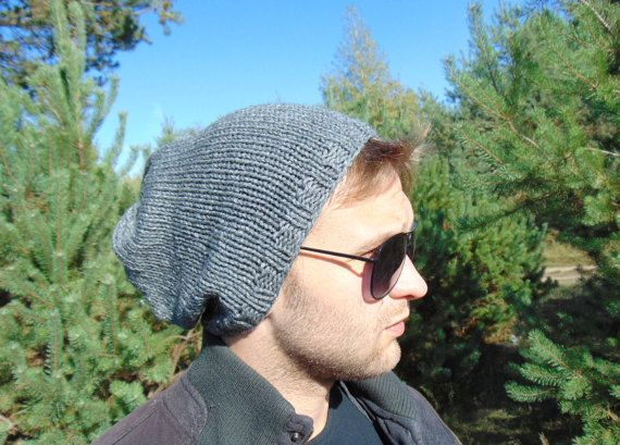 Mens Grey Hat Teenager Slouchy Beanie Knit Hat by MaddaKnits