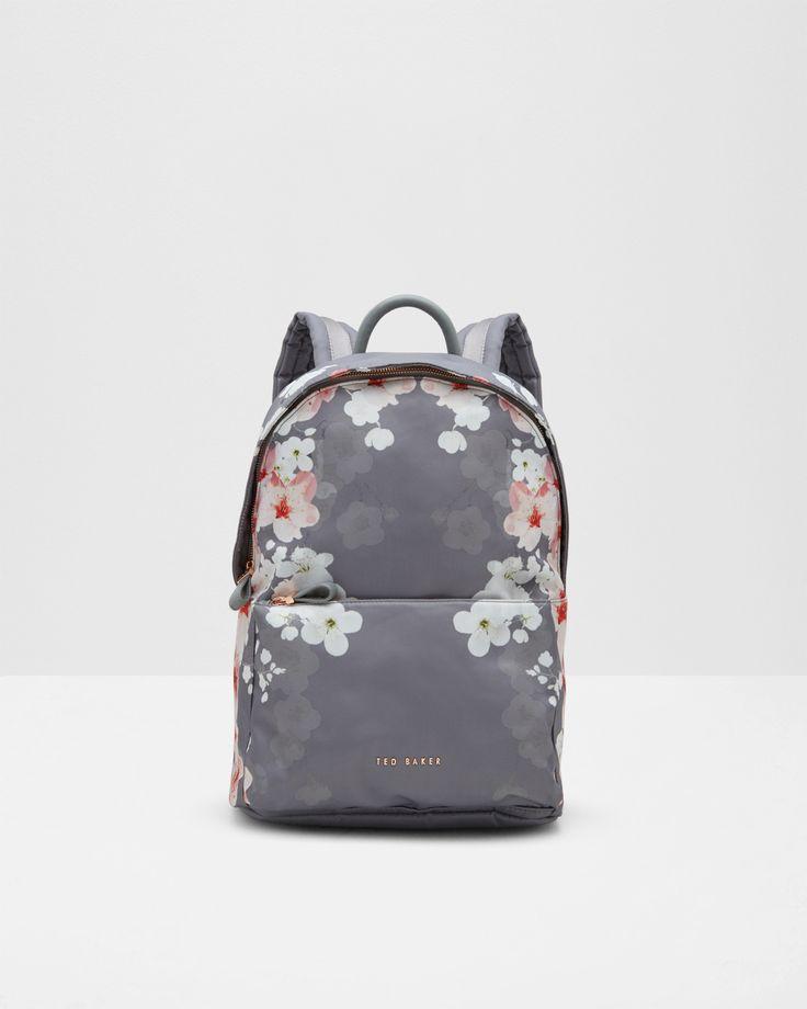 Nylon-Rucksack mit Oriental Blossom-Print - Hellgrau | Taschen | Ted Baker DE