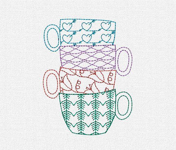 Teacups Modern Redwork Machine Embroidery Pattern Design