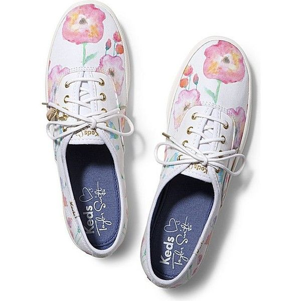 Keds Taylor Swift's Champion Flower Painting ($55) ❤ liked on Polyvore featuring shoes, sneakers, white, white shoes, white trainers, lace up shoes, flower shoes and laced shoes