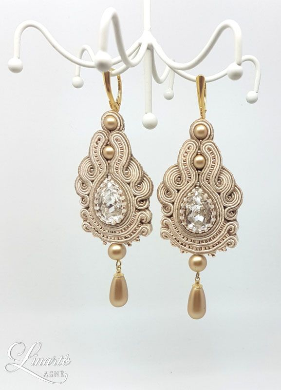 Agne Linarte jewelry & accessories earrings embellished with crystals from Swarovski and Delica seed beads.