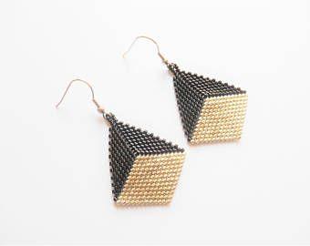 Pendientes de diamante y perlas gancho de acero inoxidable y plata / negro miuyki