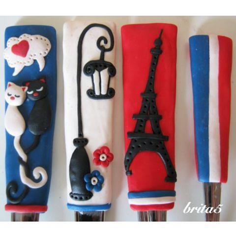 felnőtt méretű evőeszköz készlet -  Párizs szerelmeseinek, Konyhafelszerelés, Párizs, illetve francia mániás unokatesómnak készítettem a kép...