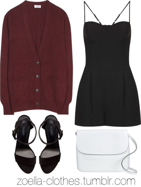 Untitled #441 by zoella-clothes featuring jumpsuits/ rompers Closed cashmere v neck cardigan / Topshop jumpsuits romper/ Zara ankle strap heels shoes / Marni courier bag ( simple girls night out outfit )