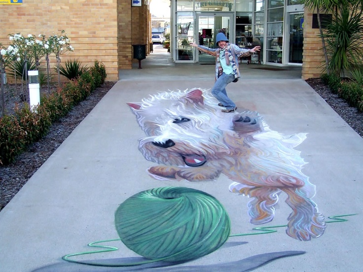West Highland Terrier Pavement Art Awesome!!