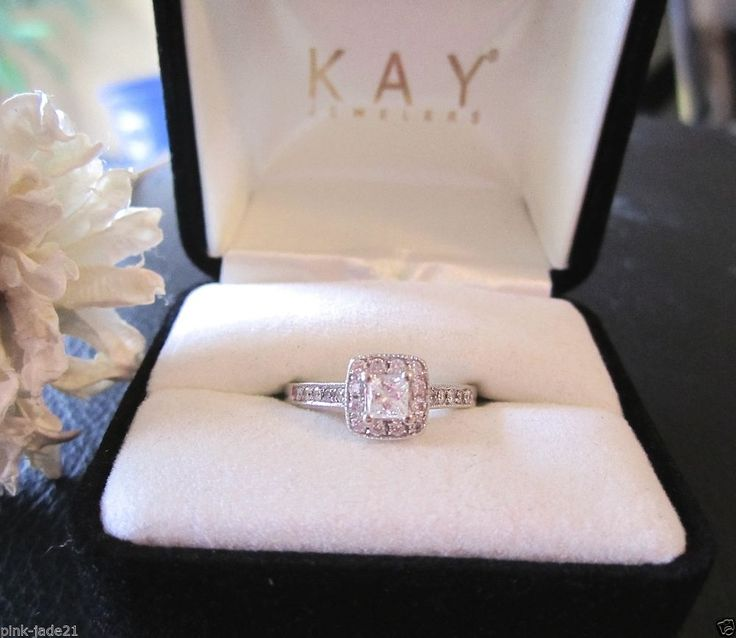 KAY JEWELERS Engagement Wedding Halo Princess Cut Diamond Ring 14KT White Gold #KayJewelers #SolitairewithAccents .