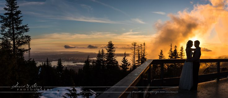 Vancouver wedding photography at the top of Grouse Mountain during a beautiful sunset and a wonderful view of downtown vancouver