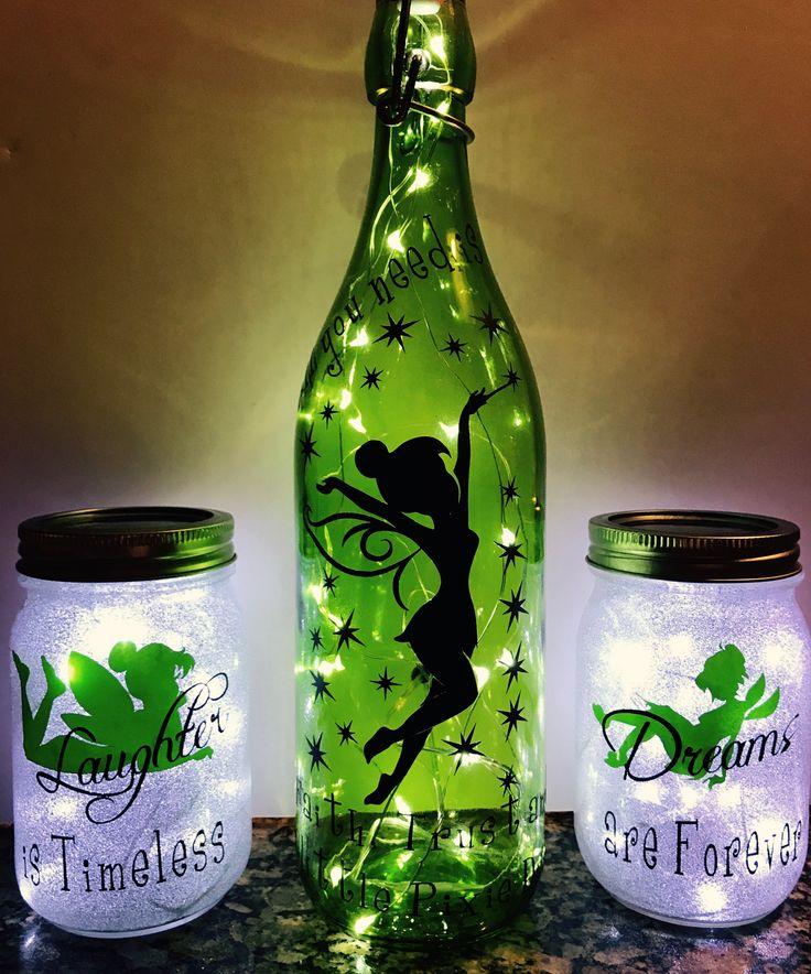 Lighted Swing Top Bottle With Vinyl Design Mason Jars