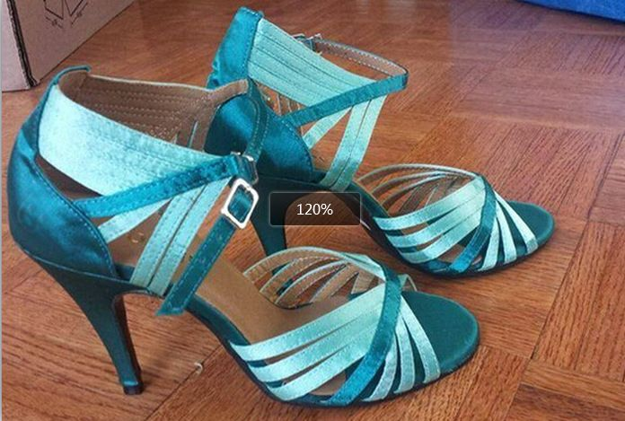 Wholesale Ladies Girls Green Satin  Ballroom Latin Samba Salsa Ceroc Tango Dance Shoes All Size