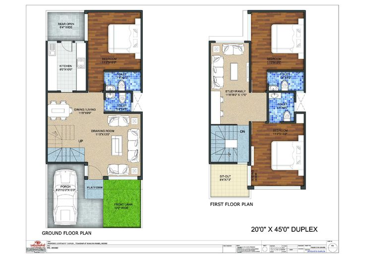20x45 Duplex Floor Plan