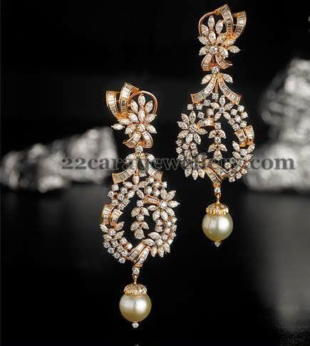 Beautiful gold diamond danglers