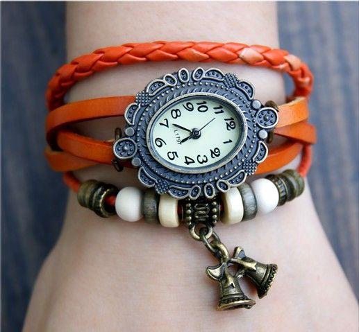 Zegarek Punkowy Skórzany Dzwoneczki RETRO ethnic