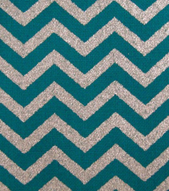 Keepsake Calico™ Cotton Fabric-Teal with Silver Metallic Chevron