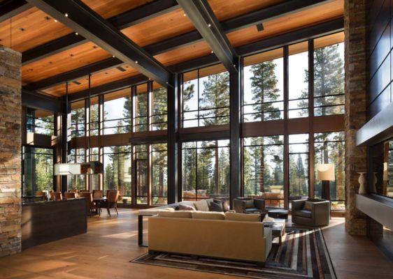 I like the floor to ceiling windows. Not sure about wood on ceiling . . .maybe in a different color / tone