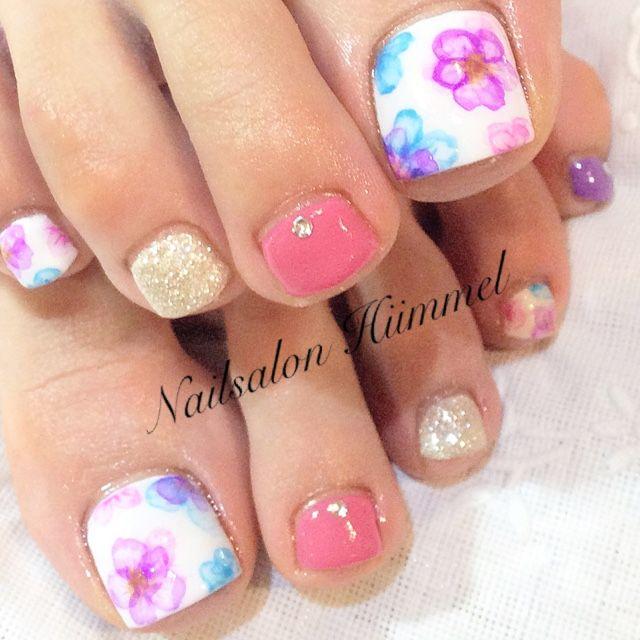 ネイル 画像 ネイルサロン ヒメル Nailsalon Himmel 渋谷 818523 ピンク たらしこみ 春 ソフトジェル フット