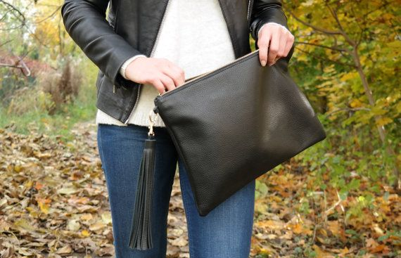 Leather CLUTCH Bag with Tassel Keychain   Large Black Leather
