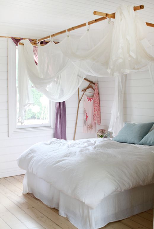 37 best sloped ceiling and canopy decorating ideas images for Drape canopy over bed
