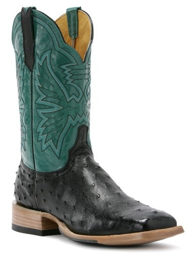 Womens Cinch Boots Ds Full Quill Black Ostrich Turquoise