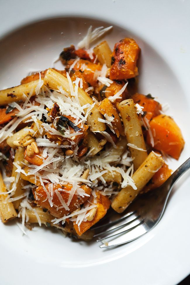 Rigatoni with butternut pumpkin, sage and pine nuts