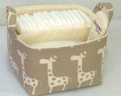 "LG Diaper Caddy 10""x10""x7"" Fabric Bin, Fabric Storage Organizer, Basket, Taupe/Natural Giraffe With Natural Lining"