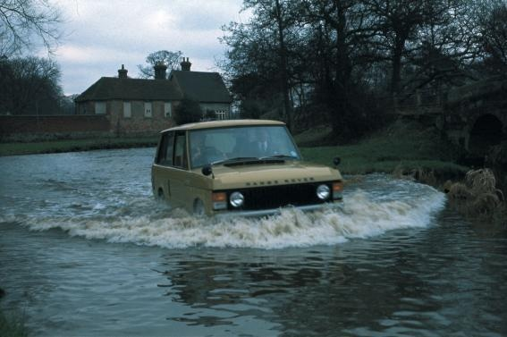 Did you know the wading depth of the Range Rover model seen in this photo was 20 inches and now it's 27.6 inches on the current Range Rover model? Where would you go fording in your Land Rover vehicle? #LandRover #RangeRover