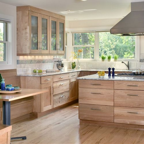 Red Birch Kitchen Cabinets: Contemporary Birch Cabinet Kitchen Design Ideas, Remodels