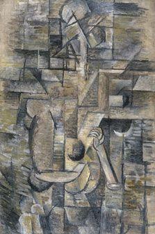 """Visto Museo Thyssen 23/10/13 Georges BRAQUE. Mujer con mandolina 1910 ((cubismo 1ª fase: ocres, grises y marrones; hay otras 2 """"mujer con mandolina"""" de Picasso; ovalada y rectangular))"""