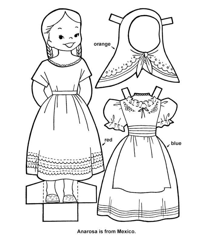 Printable cutout paper doll sheet