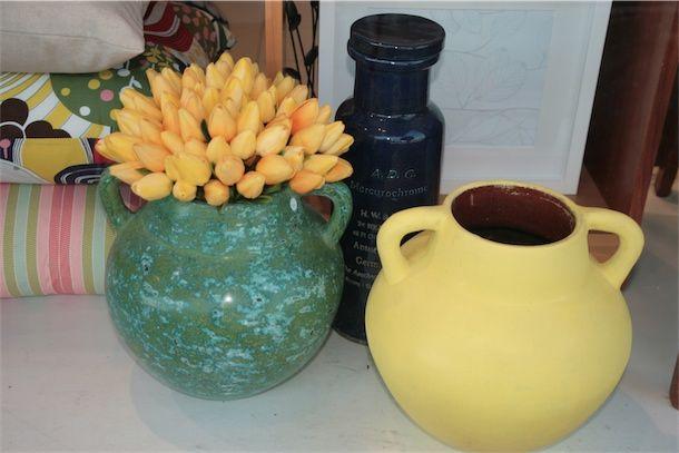 Yellow tulips and yellow Pompeii vase