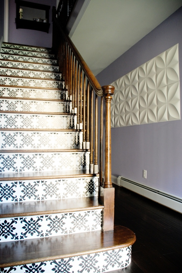 Love The Tiled Artwork And Decal On The Stairs!