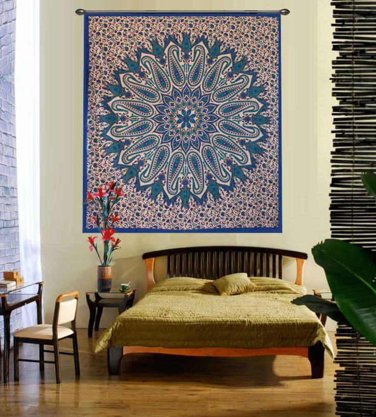 Blue glittering flower hippie wall tapestry.Perfect for topping a bed, couch, wall or your favorite chair.This Wall Tapestry can also be used as a: - Tapestry or a Wall Hanging, Bedspread, Bed Cover, Table Cloth, Curtain, Dorm Decor, Picnic Sheet Add an ethnic feel to your room with this cotton handmade wall hanging.