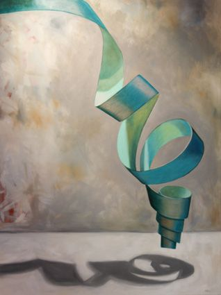 Turquoise Twister by LC Neill. Oil on canvas (30in x40in). Brilliant rendering of something simple - ribbon! (SOLD)